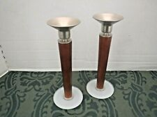 Mod Mid Century Danish Wood Metal & Glass Taper Candlestick Candle Holder Set