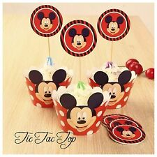 12x Disney Mickey Mouse Cupcake Toppers + Wrapper. Party Supplies Lolly Loot Bag