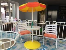 Vintage 1970's Pedigree Sindy Doll House Furniture Set - Patio Chairs & Parasol