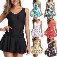 Plus Size One piece Swimsuit Women Printed Swimdress Swim Skirt Vintage Swimwear
