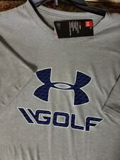 Mens Under Armour Short Sleeve Golf Shirt NEW T-Shirt Grey Blue Large Loose fit