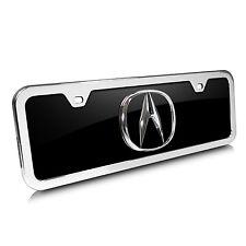 Acura 3D Logo Half-size Black Acrylic License Plate with Chrome Frame Kit