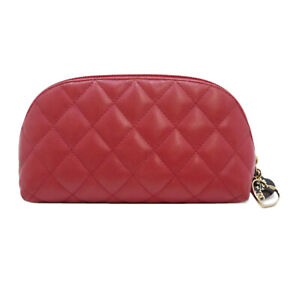 Authentic CHANEL Quilted Cosmetic Bag Red Lamb Skin #S302065