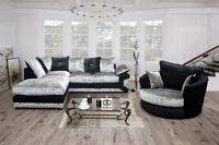 Vegas Crushed Velvet Corner Sofa Black Silver Brown Beige Dallas pose Chair