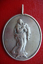 ST. MARY MAGDALENE RARE ANTIQUE  STERLING SILVER LARGE MEDAL PENDANT