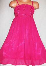 GIRLS CERISE PINK SATIN SPARKLING SEQUIN TRIM FLOATY CHIFFON PARTY DRESS age 3-4
