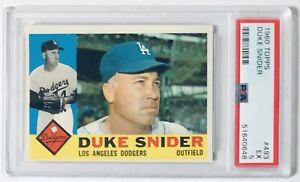 Duke Snider/Dodgers 1960 Topps Baseball Card #493 Graded PSA EX 5