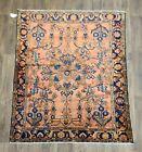Antique handwoven rug size 5'×6ft  traditional Lilihan design salmon blue