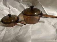 Set Of 2 Vision Corning Ware Pyrex Amber 1.5L & 0.5L Sauce Pans Pots W/ Lids USA