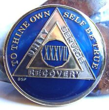 Alcoholics Anonymous Aa 37 Year Blue Medallion Token Coin Chip Sobriety Sober