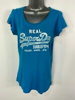 WOMENS SUPERDRY SIZE MEDIUM BLUE LOGO FRONT CREW NECK SHORT SLEEVED T SHIRT TOP