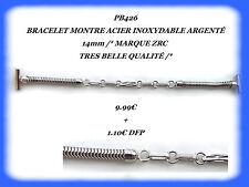BRACELET MONTRE ACIER INOXYDABLE ARGENTÉ 14mm MARQUE ZRC / Ref.PB426