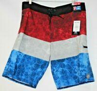 Pelagic Hydro-Lite Stacked Fishing Board Shorts Multi Patriotic Colors Size 36