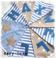 Baby BOY Personalised NAME BUNTING Natural, Beige Blue DESIGNER Luxury Fabrics.