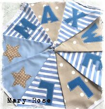 Baby BOY Personalised NAME BUNTING Natural, Beige Blue DESIGNER Luxury Fabrics.