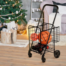 Goplus Folding Shopping Cart Trolley, Grocery Cart Dolly, with Double Basket, Sw