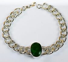 Men's Fashion Stainless Steel Natural Emerald Gemstone Bracelet-IN-37