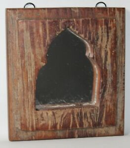 Indian Wall Mirror - Decorative Distressed Wooden Temple Mirror