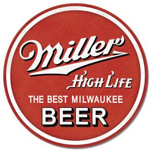"Miller High Life Beer 12"" Round Tin Metal Sign Bar Pub Man Cave Home Wall Decor"