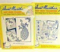 Aunt Marthas Hot Iron Transfers Lot 2  Beautiful Peacock 3297  Oriental Art 3783
