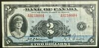 1935 Bank of Canada $2 Dollar Note  F-VF
