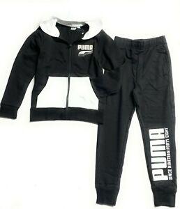 PUMA Big Boys' 2 Pcs Set Zip up Hoodie and a Jogger Pants(Ages7-17Years, Black)