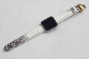 Leather IWatch Strap Band Apple Watch Genuine Lizard White 38mm/44mm  #W139