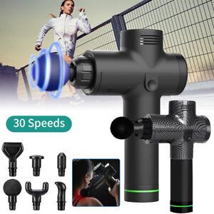 Electric Massagepistole LCD Massagegeräte Massager Muscle Gun 30 Modi 6 Köpfe DE