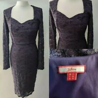Joe Browns Dress Purple Pencil Lace Sweetheart Neck Bodycon Party Occasion UK 12