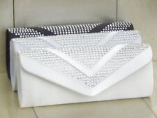 Crystal Diamante Satin Wedding Bridal Prom Clutch Purse Bag Handbag 100 UK