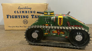 1940s Vintage Marx Wind Up Tin Army Tank With Original Box