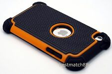 for ipod touch 4th 4 th itouch 4 gen black orange 3 layer hybrid soft  hard case