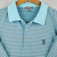 PETER MILLAR Size XL Summer Comfort Mens Golf Polo Shirt Light Blue Striped