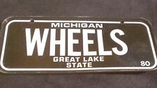 "Vintage 1980 Cereal Mini Bicycle License Plate Michigan EUC ""Wheels"""