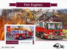 Maldives 2015 MNH Fire Engines 1v S/S Trucks 1998 Pierce Lance II Pumper Stamps