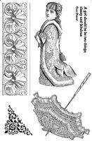 Unmounted rubber stamps Victorian Parasol and girl - REDUCED