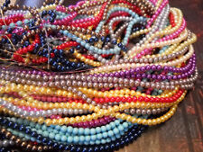 1075 BULK Beads Round Glass Pearls 4mm Beads Assorted Lot Wholesale 5 strands
