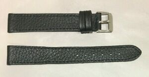 Pulsera Correa de Reloj Piel Legítima 18 mm Negro   Watchband 212 Extra Larga