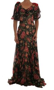 NEW DOLCE & GABBANA Dress Silk Red Roses Print Long Shift Gown IT40 /US6/S