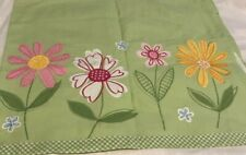 Set 2 Pottery Barn Kids Lined Curtain Valances Lime Green Gingham Flowers 44x18