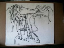 """""""HORSE SADDLE"""" by Ruth Freeman  DRAWN WITH PENCIL MEASURES 13 1/4"""" X  15 1/4"""""""