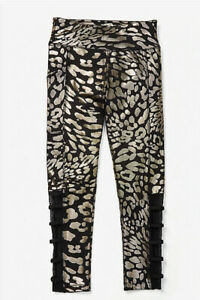 NWT JUSTICE GIRLS LEOPARD SHINE STRAPPY MESH LEGGINGS Size 12 BLACK