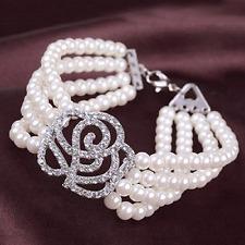 Hochzeit Armband Rose Braut Strass Perlen Armschmuck silber-farbig ivory 4Reihig