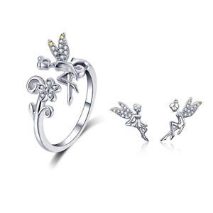 BAMOER Spring elevs Women Jewelry Sets AAA CZ S925 silver Ring Earrings Fashion