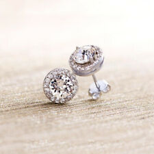 Sterling Silver & Cubic Zirconia Round Halo Pave Bridal Stud Earrings