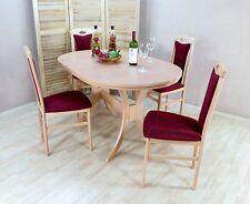 Essgruppe 5-tlg. Auszugtisch oval Esstisch Stühle Farbe: Buche-Natur/Bordeauxrot