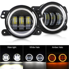 4inch LED Fog Lights DRL White Amber Angel Eye for Jeep Wrangler JK TJ LJ Dodge