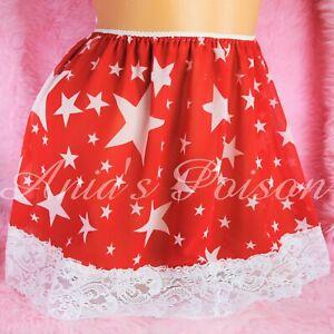 Sissy Maid Chiffon Red White STARS Lace Bottom Frilly mini half slip skirt OS