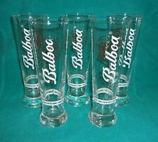 """Balboa Panamanian Cerveza Beer Glass 7-3/4"""" Tall...Group Of 5...EXCELLENT"""