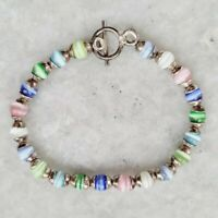 925 Sterling Silver Multicolor Cats Eye Glass Capped Beaded Toggle Bracelet